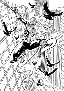Spiderman-swinging- by Tregis