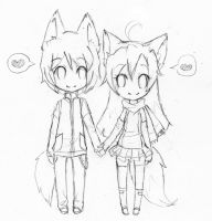 Tasuku and Mae doodle by rap1993
