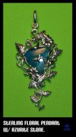 sterling floral with azurite by Dans-Magic