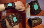 Brown reptile Leather Cuff with Turquoise by CRISTYNNA-NECROPOLIS