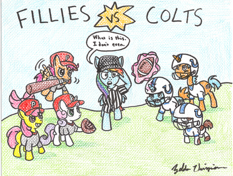 MLP Fillies vs. Colts by PerfectFourth