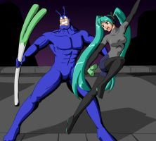 The Tick and Hatsune Miku by wbd