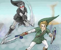 Link vs. Dark Link by ShunAndromeda