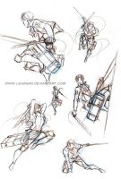 Shingeki no Kyojin- Action poses practice by Lehanan