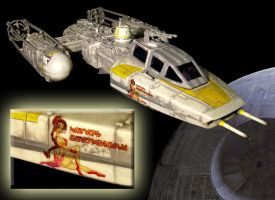 Custom Y-Wing with Slave Leia Noseart by JVCustoms by jvcustoms