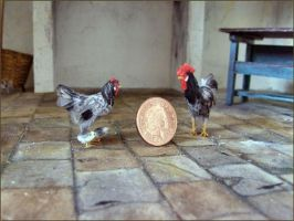 Miniature cockerel and hen by AnyaStone