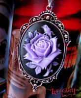 LAVENDER Rose Cameo Necklace by Horribell-Originals