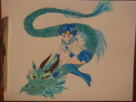 Water Dragon with Sailor Mercury by silvermoonmagic