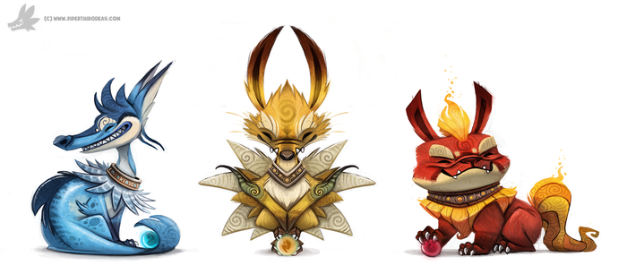 Daily Painting 756. Kanto - Eeveelutions Complete by Cryptid-Creations