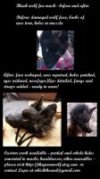 Black wolf mask before and after by lupagreenwolf