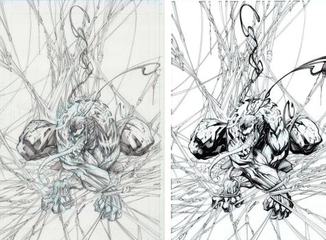 Venom Pencils vs Inks by Sandoval-Art