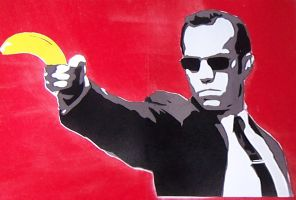 Agent Smith Banana - Stencil by theraineydaze