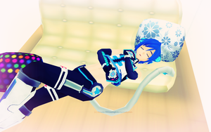 MMD Vocaloid - Sleepy Cyber Kitty by InvaderBlitzwing