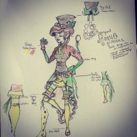 Steampunk rogue costume/ concept art by FlyingSkySnow