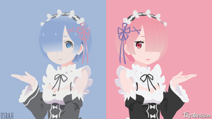 Ram And Rem|Re:Zero|Minimalist by FikriMochizou