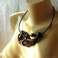 Necklace1603 Amber with insect by AmberSculpture