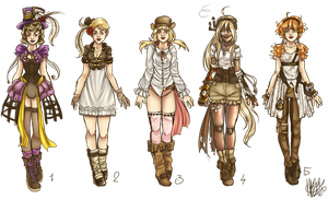 steampunkish characters. by miesmud