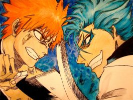 Ichigo vs Grimmjow by Trista-Willows