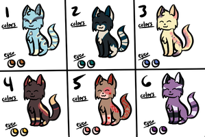 :ADOPTS: :3/6: :NAME YOUR PRICE: .:cats 1:. by MistiGears