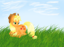 Applejack in the Grass by badkittyxx