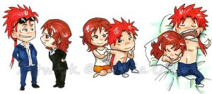 Chibi Reno and Cissnei by agra19