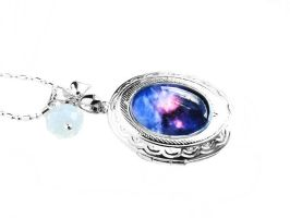 SOLD Cosmic Galaxy Locket Sterling Silver Necklace by crystaland
