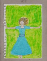 Girl in Blue Dress with Green Background by UnjustToMe
