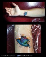 water color coffee cup tattoo by redtrujillo