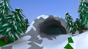 Low Poly Snow Cave by Piplington