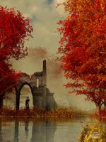 Ruins in Autumn Fog by deskridge