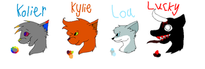Kolier, Kylie, Lou, and Lucky ref sheets by Helkie-three