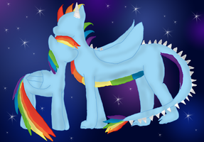 Commission: Dragon flash and Rainbow dash by WoefulWriters