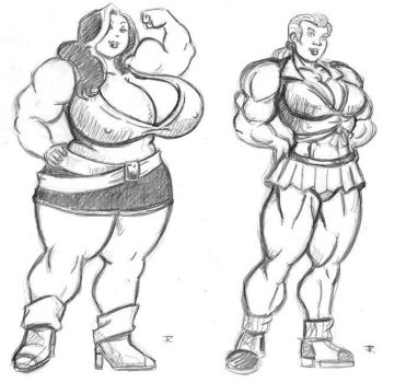 Muscle Women Design Sketches by JRtheMonsterboy