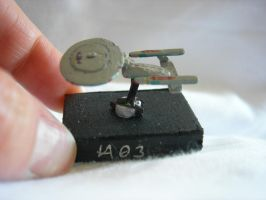 Tiny wooden Enterprise D by Artire