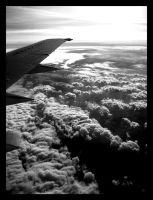 Soaring Over the Clouds - BW by SurfGuy3