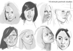 15-minute portrait studies by Rhineville