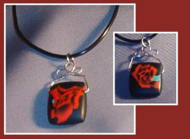 Flame rose necklace by Glori305