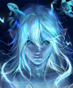 Blue Glow by sakimichan