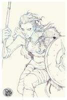 Lagertha Lineart Detail by juliodelrio