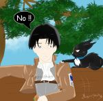Levi and a cat by Magicashark