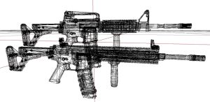 Custom M4 and M27 Wireframe render by EricJ562