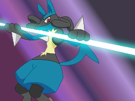 Fighting Lucario by Flash--the--Hedgehog