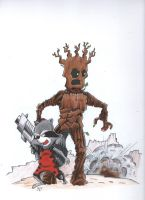 Rocket and Groot Take on the World by johnnyism