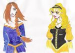 Ravenclaw and Hufflepuff by bluewatermelon