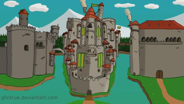 Fantastic Fantasy Castle with red roof tiles by GlinTrue