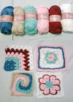 Crochet Granny Square and Yarns by seawaterwitch
