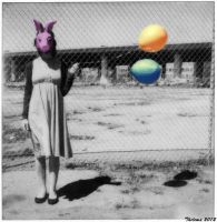 Rabbit Girl with Balloons by Thelema001