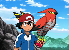 Ash and Talonflame V2 by Rohanite