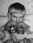 A Boy and 2 Puppies - Commission by ronmonroe
