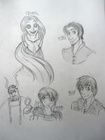 Tangled and HTTYD doodles by arystar